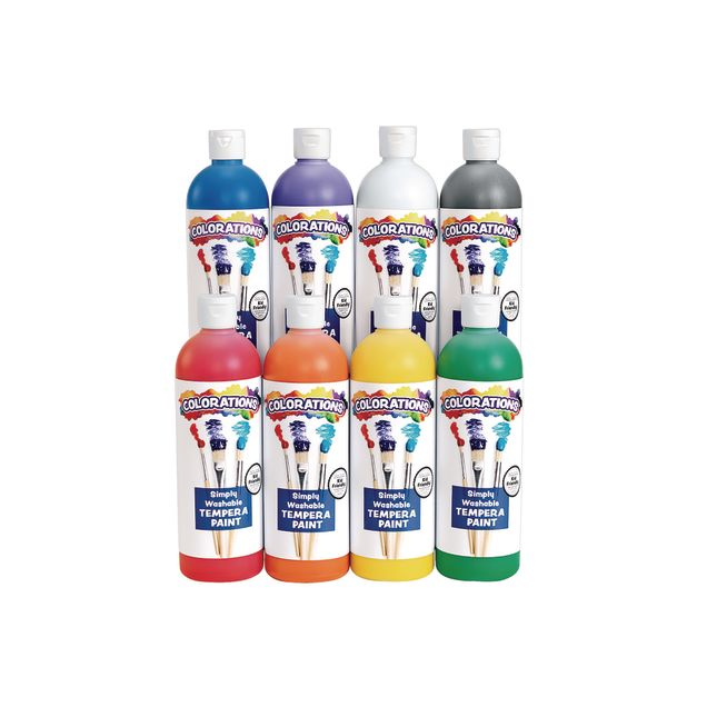 Colorations Simply Washable Tempera 16 oz Rainbow Plus 8 Pack