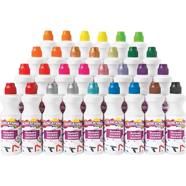 Colorations Washable Chubbie Marker Classroom Pack Set of 30