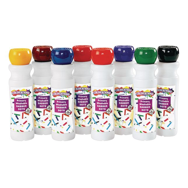 Colorations Washable Primary Dabber Dots Set of 8