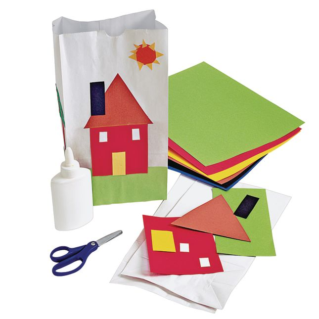 White Paper Craft Bags Set of 100