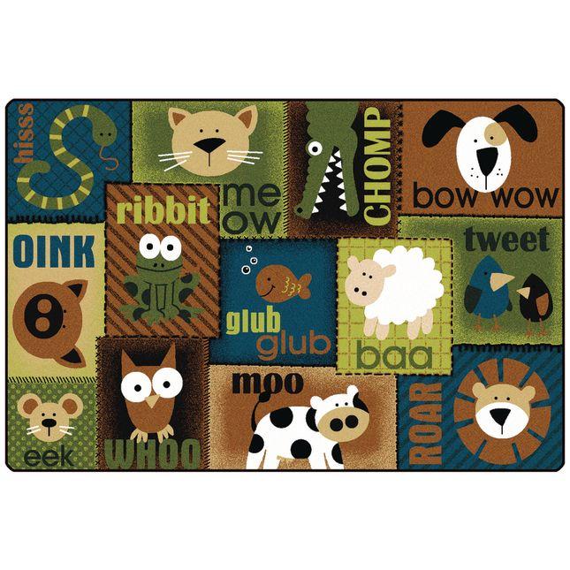Animal Sounds Nature 6' x 9' Rectangle KIDSoft Premium Carpet - 1 carpet