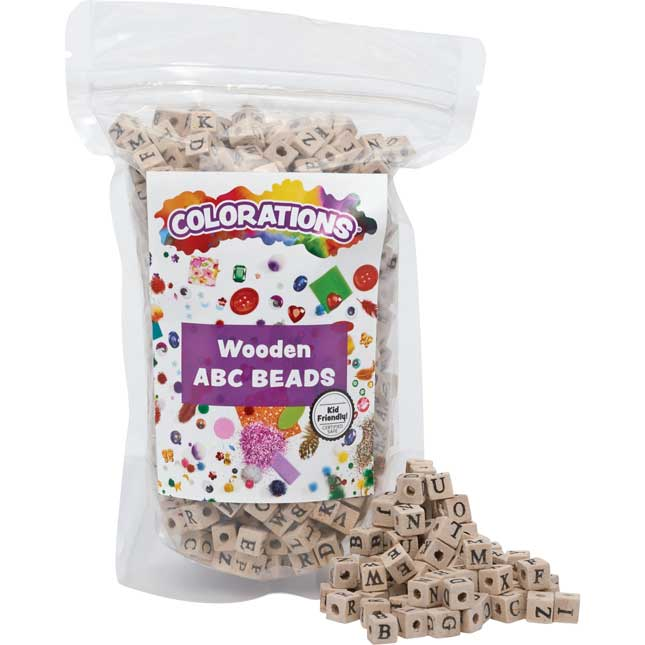 Colorations Wooden ABC Beads 600 Pieces