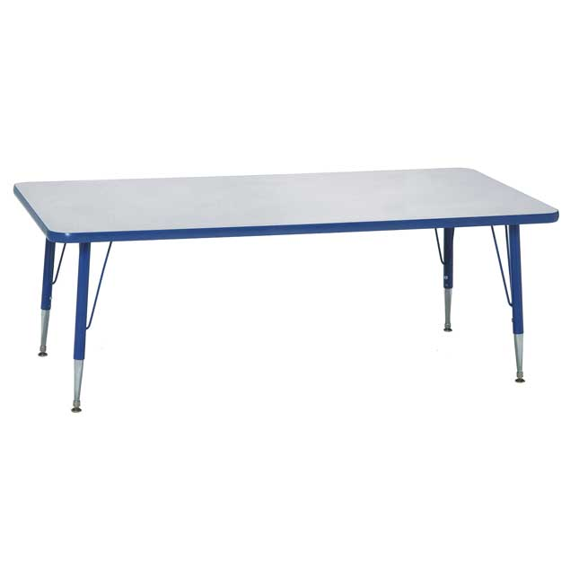 """Blue 22-30""""H, 24"""" x 48"""" Rectangle Scholar Craft Activity Table - 1 table"""