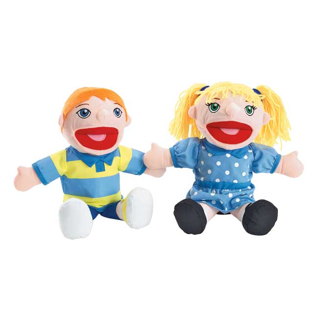 Excellerations Caucasian Girl and Boy Puppet Pair - 1 pair