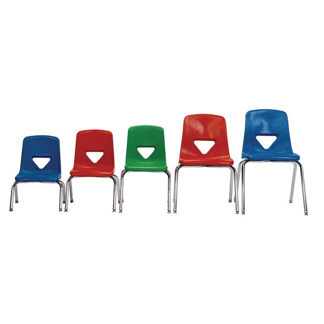 Green 15 1 2 H Scholar Craft Stacking Chairs with Chrome Legs Set of 5