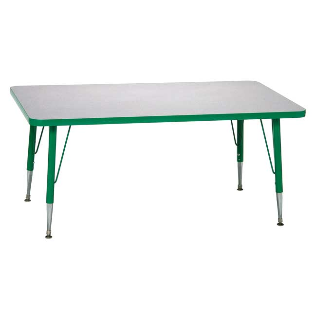 """Green 18-25""""H, 30"""" x 60"""" Rectangle Scholar Craft Activity Table - 1 table"""