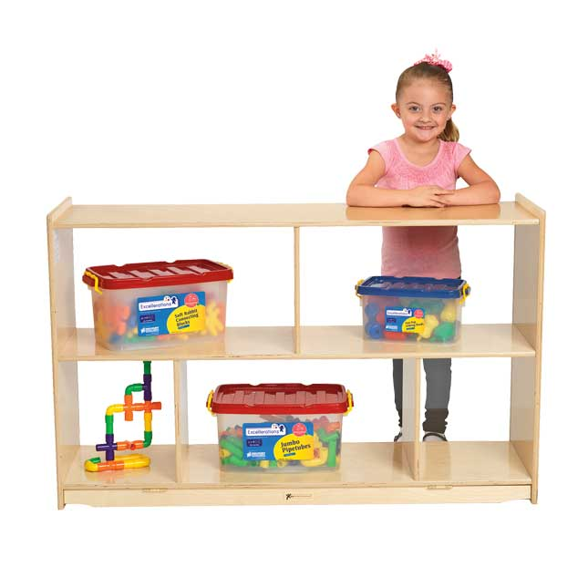 MyPerfectClassroom Divided Shelf Mobile Storage with Clear Back - 1 storage