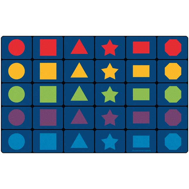 MyPerfectClassroom Learning Shapes Seating Rug   7 6  x 12  Rectangle