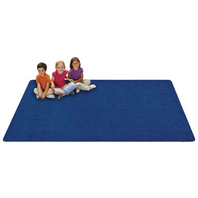 MyPerfectClassroom Premium Solid Carpet 4' x 6' Blue - 1 carpet