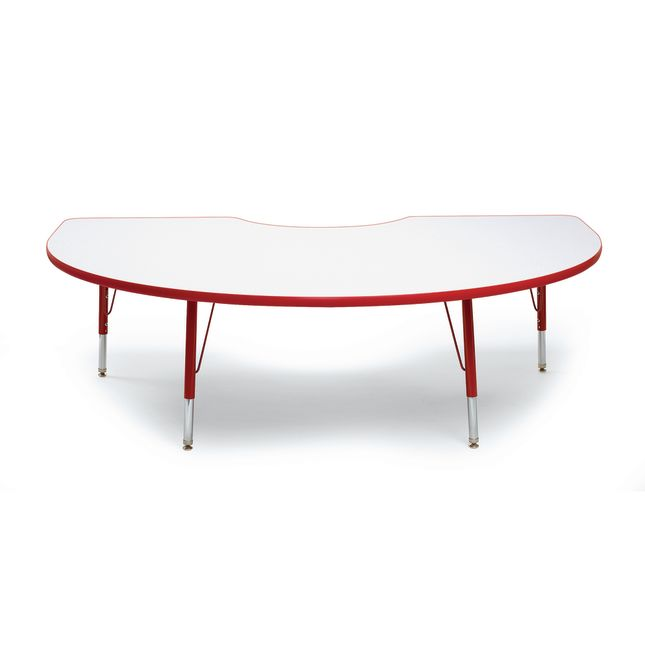 "Red 22-30""H, 48"" x 72"" Kidney Scholar Craft Activity Table - 1 table"
