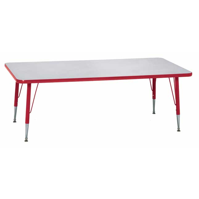 """Red 18-25""""H, 24"""" x 48"""" Rectangle Scholar Craft Activity Table - 1 table"""