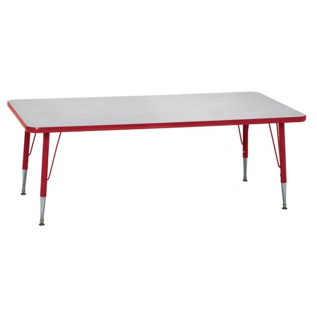 """Red 22-30""""H, 24"""" x 48"""" Rectangle Scholar Craft Activity Table - 1 table"""