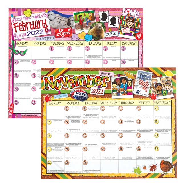 Monthly Calendar Pages and Stickers 2021 2022 Intermediate