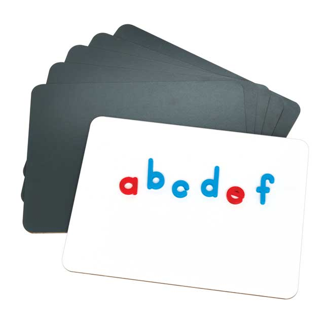 Magnetic Dry Erase Boards With Coded Plastic Letters - 24 Student Class Pack