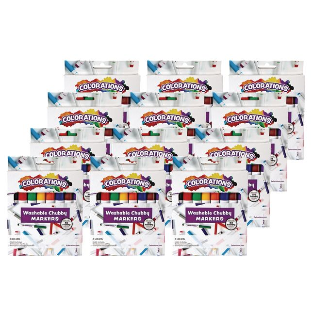 Colorations Chubby Markers, 8 Colors, 12 Packs_0