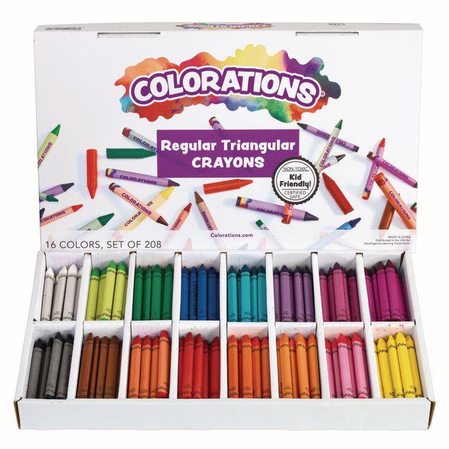 Colorations Regular Size Triangular Crayons Set of 208
