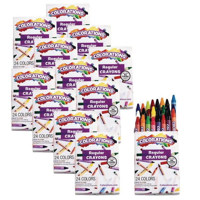 Colorations Regular Crayons, Set of 24 Colors, 12 Packs_0