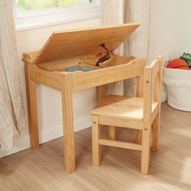 Lift-Top Desk with Chair Natural