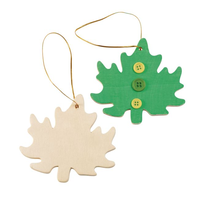 Colorations Hanging Wood Leaves Set of 12_0