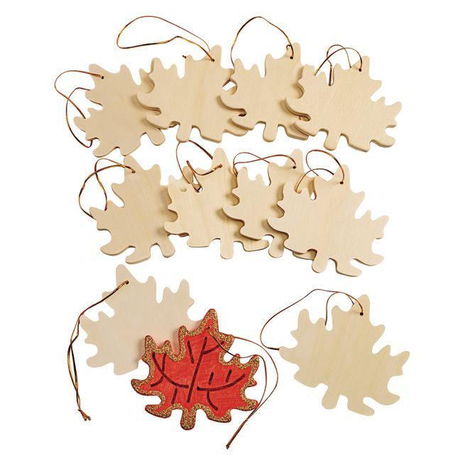 Colorations Hanging Wood Leaves Set of 12_2