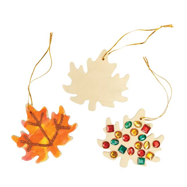 Colorations Hanging Wood Leaves Set of 12_5