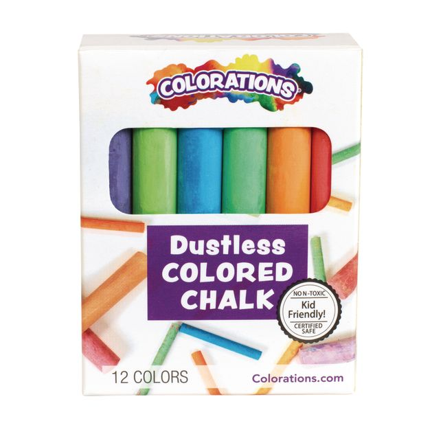 Colorations Colored Dustless Chalk 12 Pieces