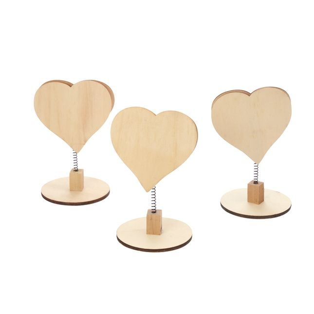 Colorations Wooden Bobble Heart Note Holders Set of 3