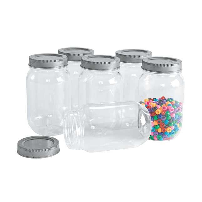 Colorations All Plastic Mason Jar Set of 6