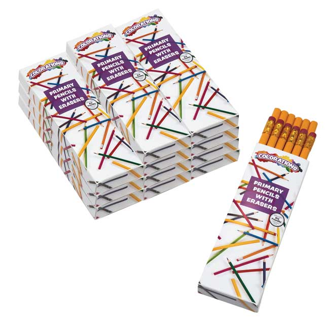 Colorations Primary Pencils With Erasers, Set of 144