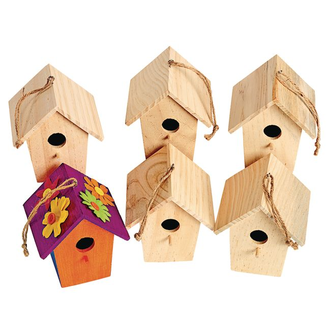 Colorations Wooden Birdhouses Set of 6_1