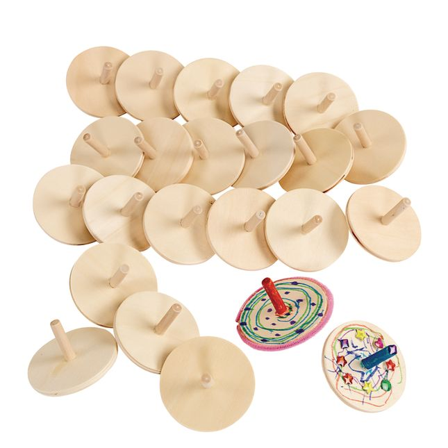 Colorations Whirling Wooden Tops  Set of 24