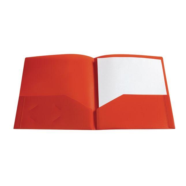 Plastic Pocket Folder, Red
