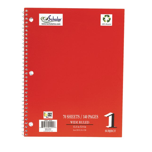 Spiral Notebook, 70 Sheets - Red