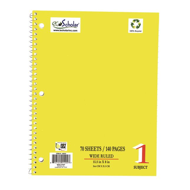 Spiral Notebook, 70 Sheets - Yellow
