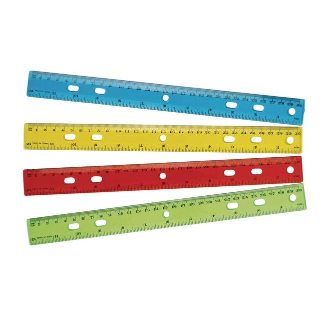 """12"""" Standard and Metric Plastic Ruler - Set of 12"""