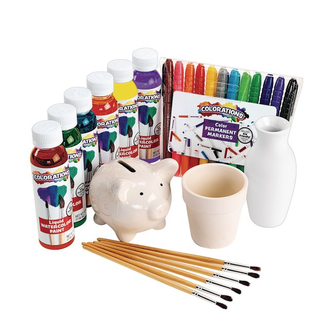 Colorations® Decorate Your Own Ceramic Crafts, Set of 6