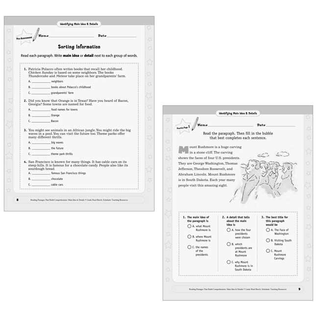 Reading Passages Main Idea And Details Book - Grades 2-3