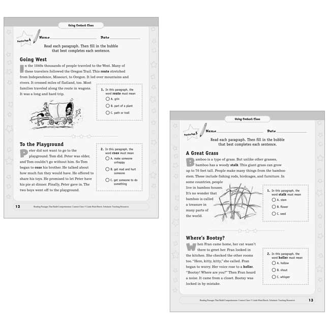 Reading Passages Context Clues Book - Grades 2-3