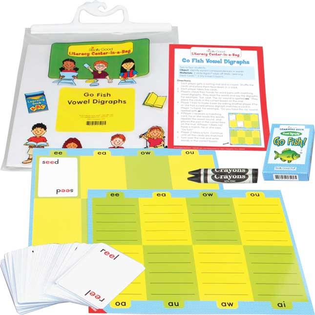 Go Fish Vowel Digraphs Literacy Center - Grades 2-3