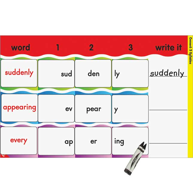 Connect 3 Syllables Literacy Center - Grades 2-3