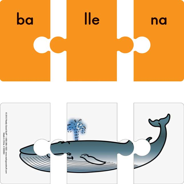 Spanish Syllable Puzzles - 1 set