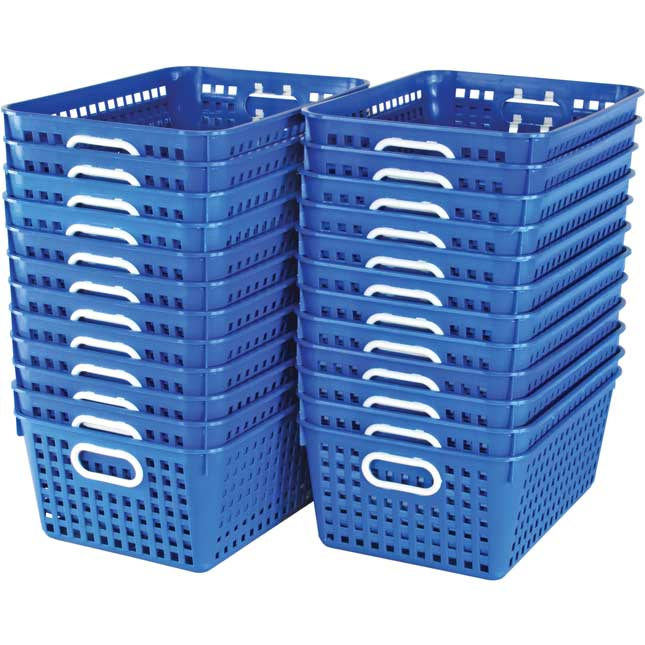 Classroom Library Large Book Baskets and Label Holder Kit - 24 baskets, 24 label holders