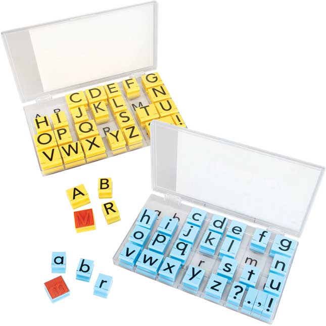 Jumbo Uppercase And Lowercase Alphabet Rubber Stamp Letters