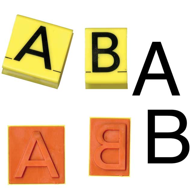Jumbo Uppercase And Lowercase Alphabet Rubber Stamp Letters - 60 stamps