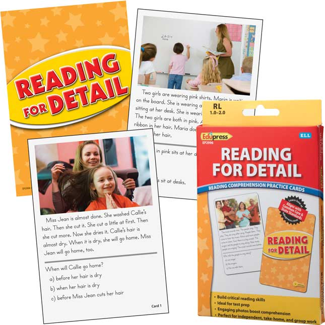Reading Comprehension Practice Cards - Yellow Level - Reading For Details