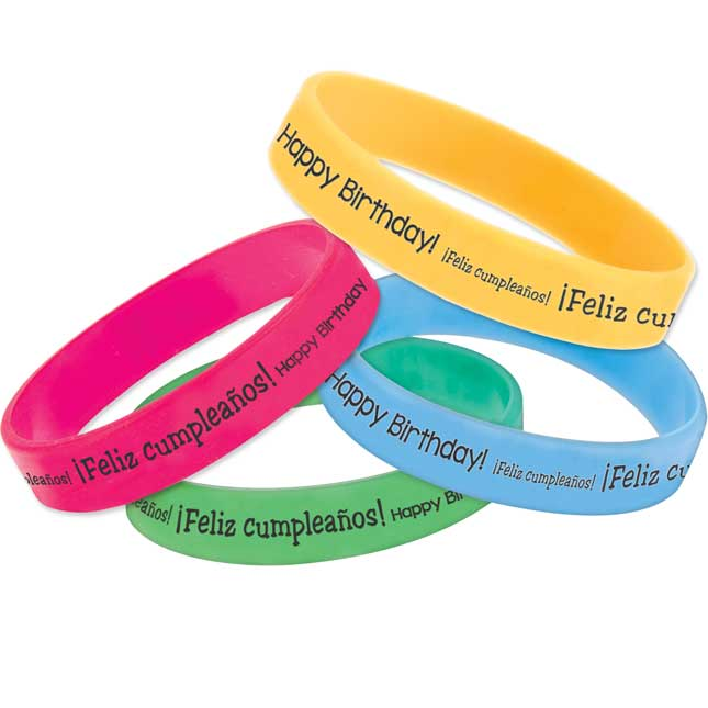 Happy Birthday! Dual Language Silicone Bracelet Set