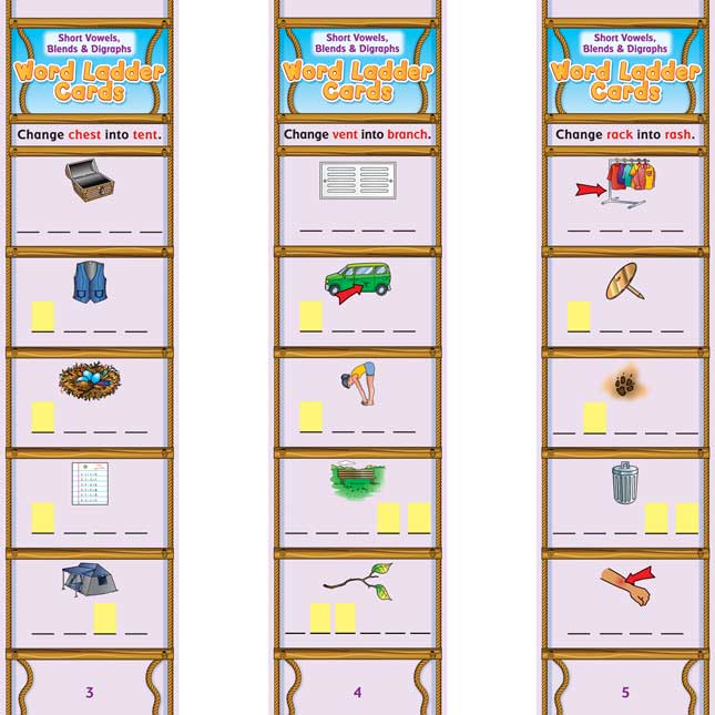 Short Vowels, Blends and Digraphs Word Ladder Cards - 28 cards
