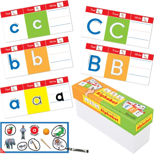 Feel, Trace and Write Alphabet Cards And Dry Erase Crayons - Boxed Set with 52 Laminated Letter Cards and 4 Dry Erase Crayon - Grades Pre-K - 1
