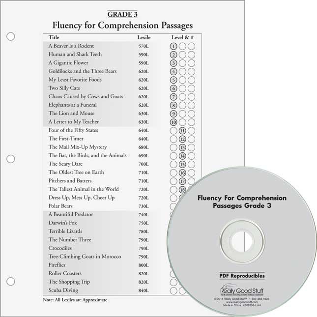 Fluency For Comprehension Set - Passages and CDs - Grade 3