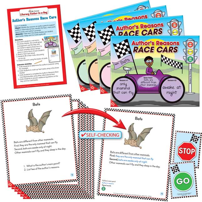 Really Good Literacy Center™: Author's Reasons Race Cars